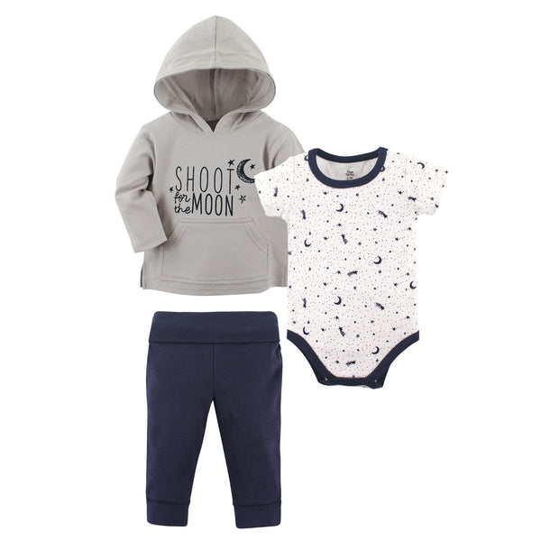 Yoga Sprout Cotton Hoodie, Bodysuit or Tee Top, and Pant, Moon Baby