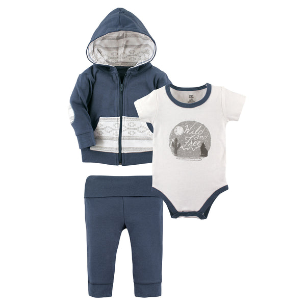 Yoga Sprout Cotton Hoodie, Bodysuit or Tee Top, and Pant, Wild Free Baby