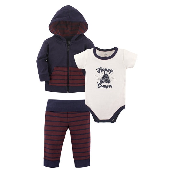 Yoga Sprout Cotton Hoodie, Bodysuit or Tee Top, and Pant, Happy Camper Baby
