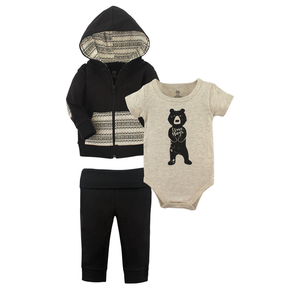 Yoga Sprout Cotton Hoodie, Bodysuit or Tee Top, and Pant, Bear Hugs Baby