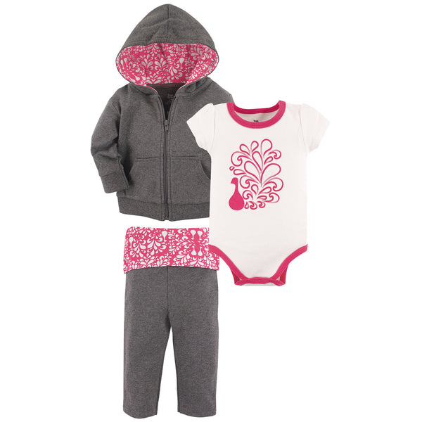 Yoga Sprout Cotton Hoodie, Bodysuit or Tee Top, and Pant, Peacock Baby