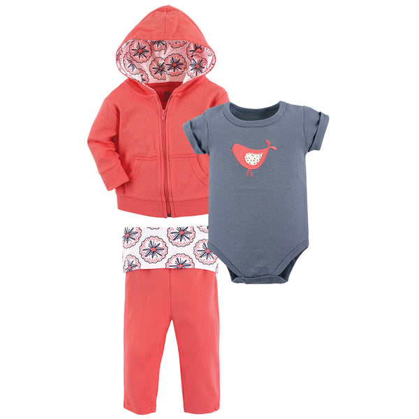 Yoga Sprout Cotton Hoodie, Bodysuit or Tee Top, and Pant, Bloom Baby