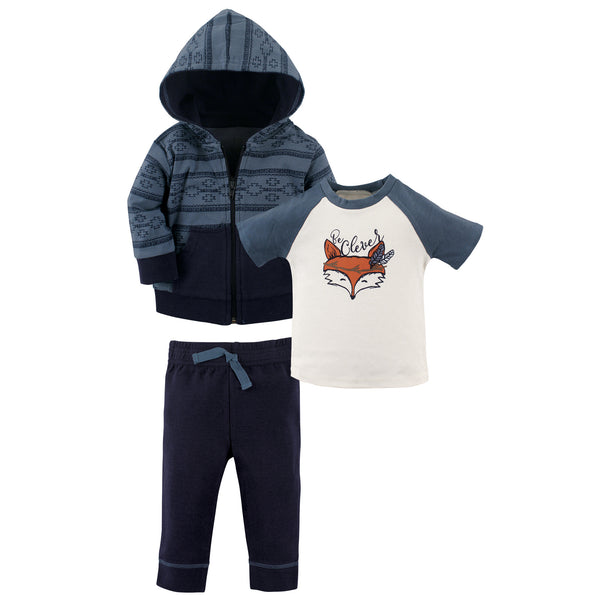 Yoga Sprout Cotton Hoodie, Bodysuit or Tee Top, and Pant, Be Clever Toddler