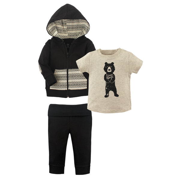 Yoga Sprout Cotton Hoodie, Bodysuit or Tee Top, and Pant, Bear Hugs Toddler
