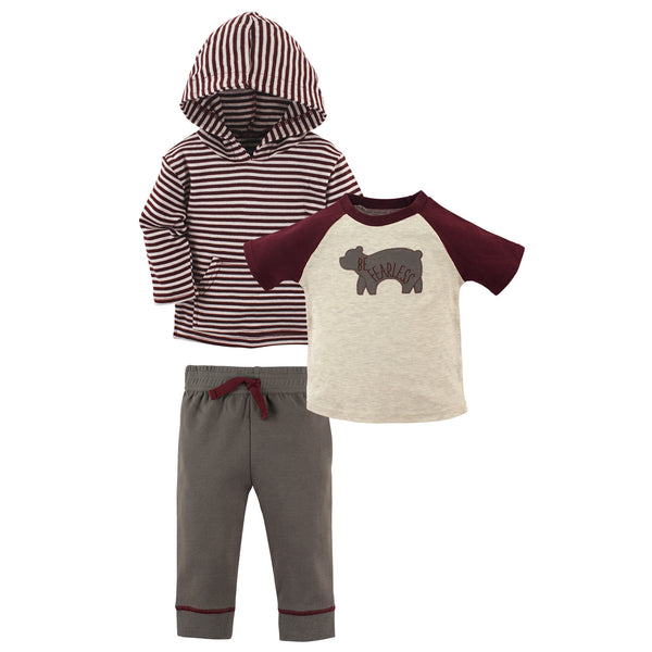 Yoga Sprout Cotton Hoodie, Bodysuit or Tee Top, and Pant, Fearless Toddler