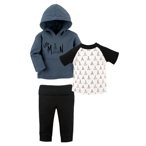 Yoga Sprout Cotton Hoodie, Bodysuit or Tee Top, and Pant, Little Man Toddler