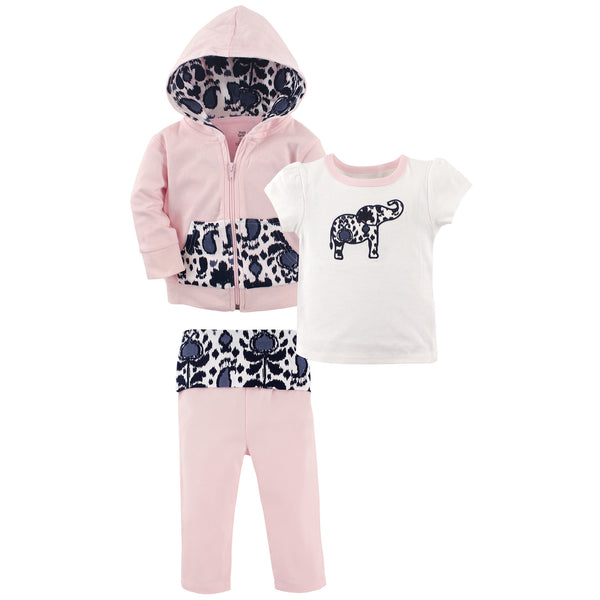 Yoga Sprout Cotton Hoodie, Bodysuit or Tee Top, and Pant, Ikat Elephant Toddler