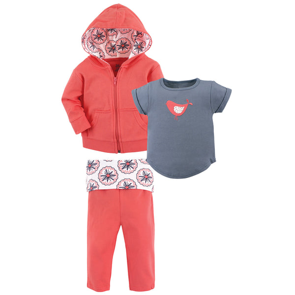 Yoga Sprout Cotton Hoodie, Bodysuit or Tee Top, and Pant, Bloom Toddler