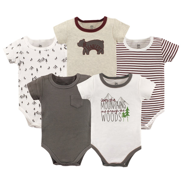 Yoga Sprout Cotton Bodysuits, Mountains Short-Sleeve