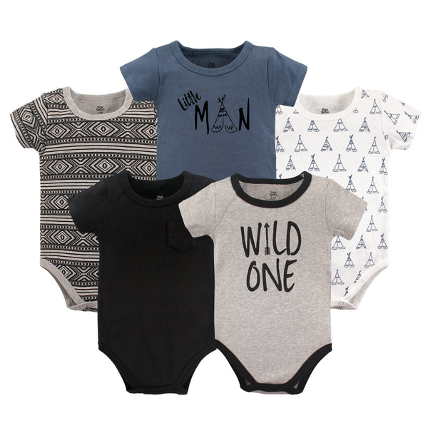 Yoga Sprout Cotton Bodysuits, Wild One Short-Sleeve