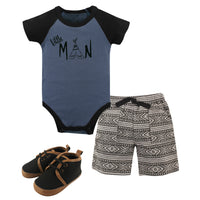 Yoga Sprout Cotton Layette and Shoe Set, Little Man