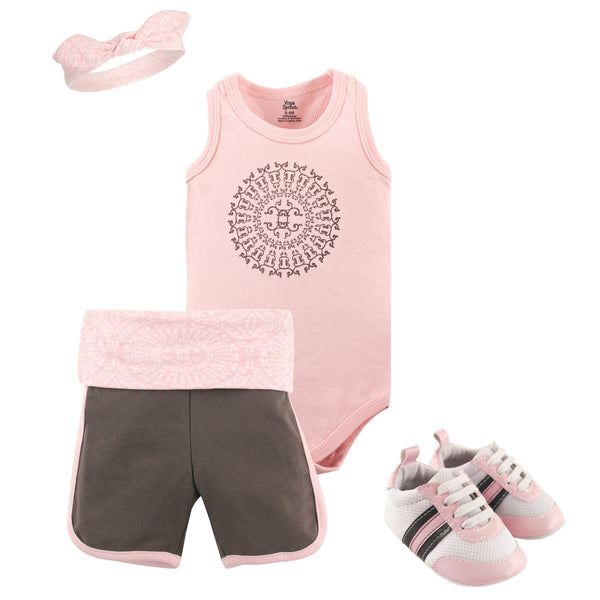 Yoga Sprout Cotton Layette and Shoe Set, Scroll