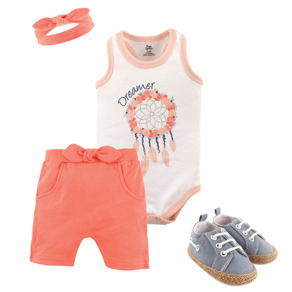 Yoga Sprout Cotton Layette and Shoe Set, Dream Catcher