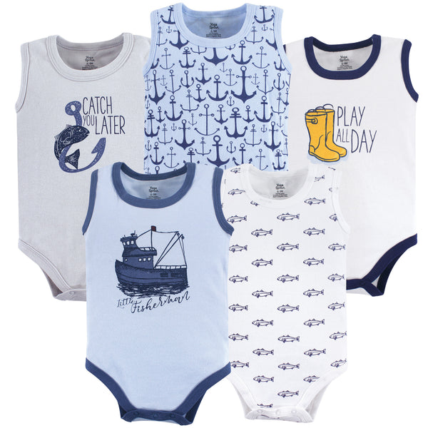 Yoga Sprout Cotton Bodysuits, Fisherman