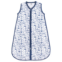 Yoga Sprout Sleeveless Muslin Cotton Sleeping Bag, Sack, Blanket, Blue Anchor