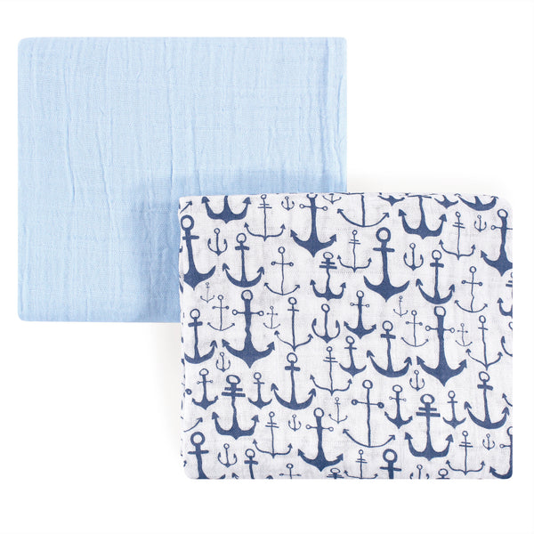 Yoga Sprout Cotton Muslin Swaddle Blankets, Blue Anchor