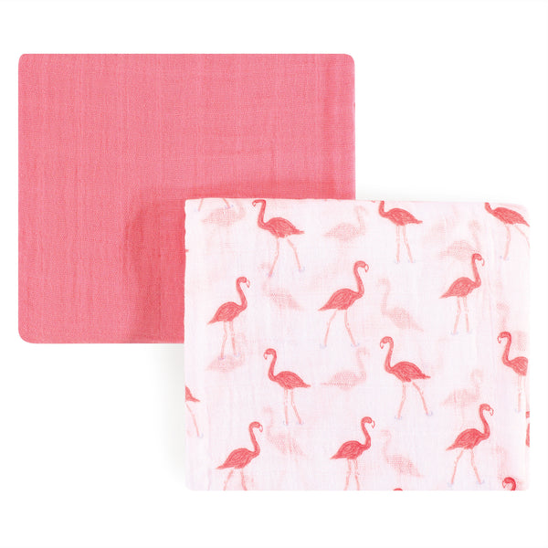 Yoga Sprout Cotton Muslin Swaddle Blankets, Flamingo