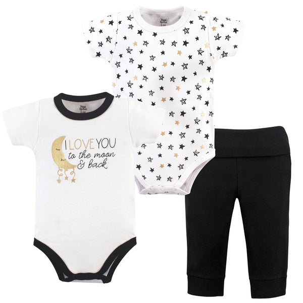 Yoga Sprout Cotton Layette Set, Metallic Moon