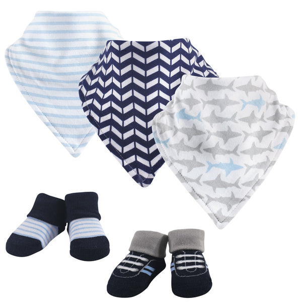 Yoga Sprout Cotton Bandana Bibs and Socks, Shark