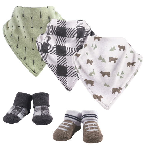 Yoga Sprout Cotton Bandana Bibs and Socks, Bear