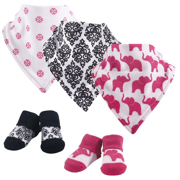 Yoga Sprout Cotton Bandana Bibs and Socks, Damask Elephant