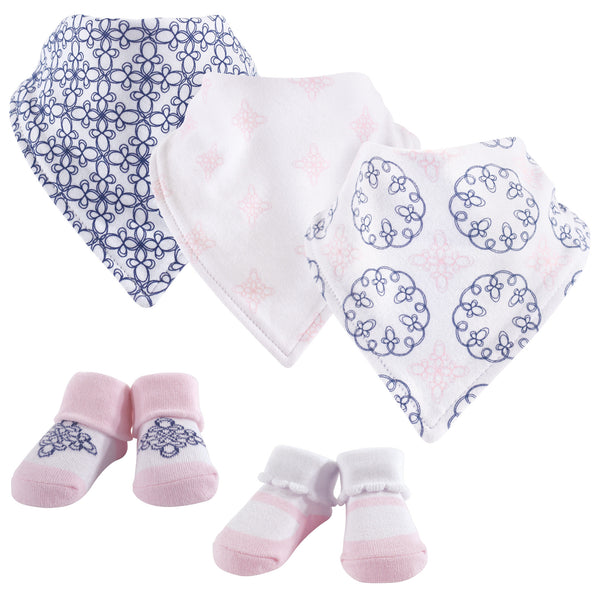 Yoga Sprout Cotton Bandana Bibs and Socks, Whimsical