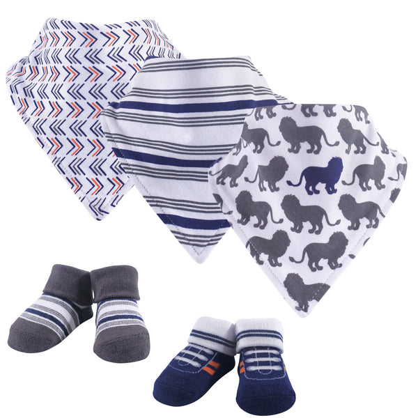 Yoga Sprout Cotton Bandana Bibs and Socks, Lion