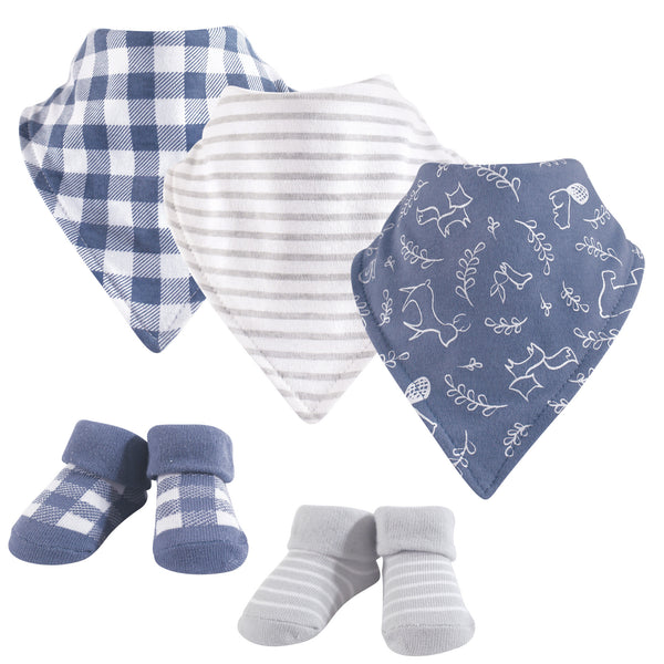 Yoga Sprout Cotton Bandana Bibs and Socks, Forest