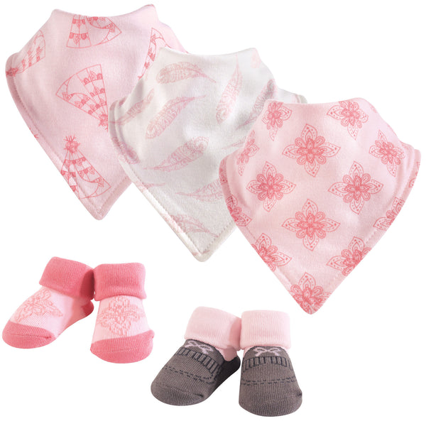 Yoga Sprout Cotton Bandana Bibs and Socks, Teepee