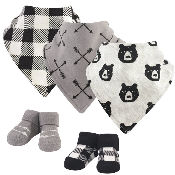 Yoga Sprout Cotton Bandana Bibs and Socks, Bear Hugs