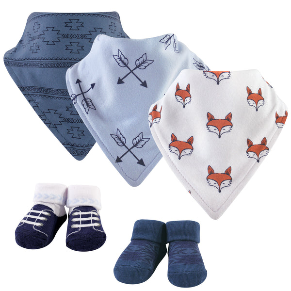 Yoga Sprout Cotton Bandana Bibs and Socks, Clever Fox