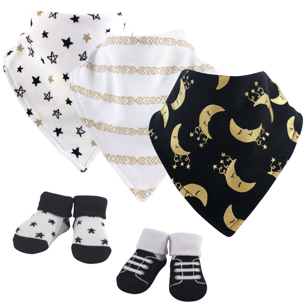 Yoga Sprout Cotton Bandana Bibs and Socks, Metallic Moon