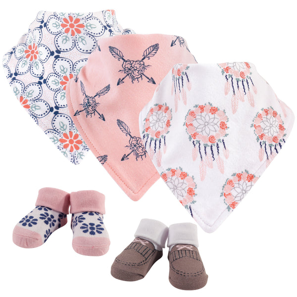 Yoga Sprout Cotton Bandana Bibs and Socks, Dream Catcher