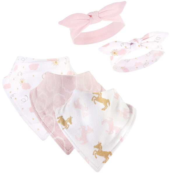 Yoga Sprout Cotton Bandana Bibs and Headbands, Unicorn