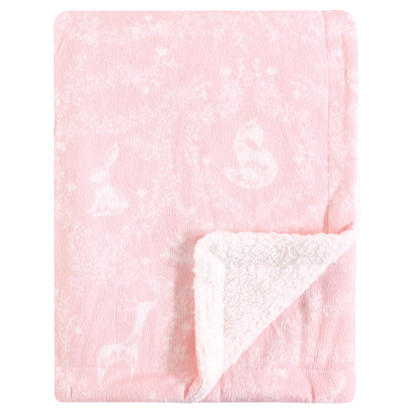 Yoga Sprout Mink and Sherpa Plush Blanket, Lace Garden