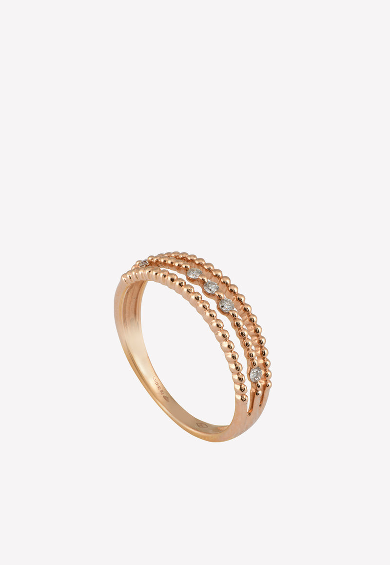 0.15 ct Diamond Lined Rose Gold Ring