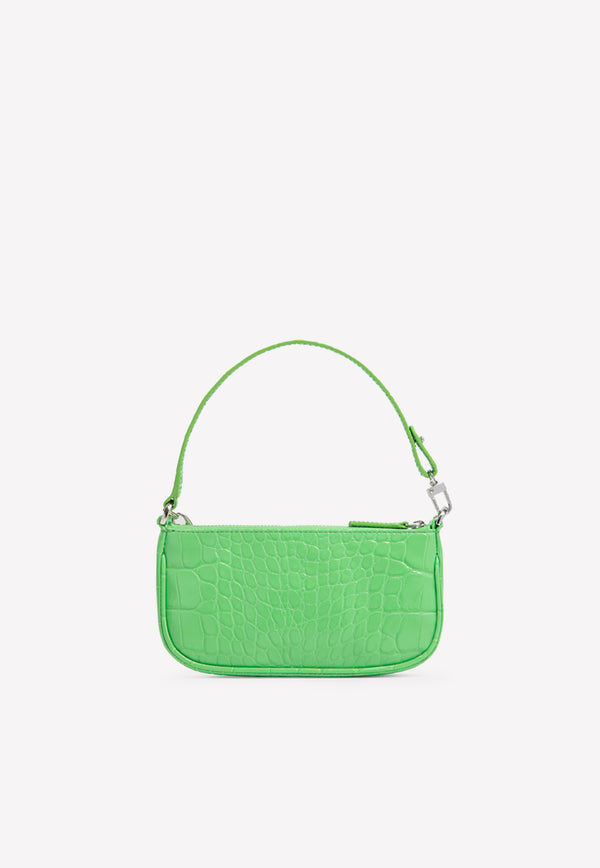 حقيبة صغيرة مصغرة Handle Hang Bag في Croc-Embbosed Cw Leather-Grass
