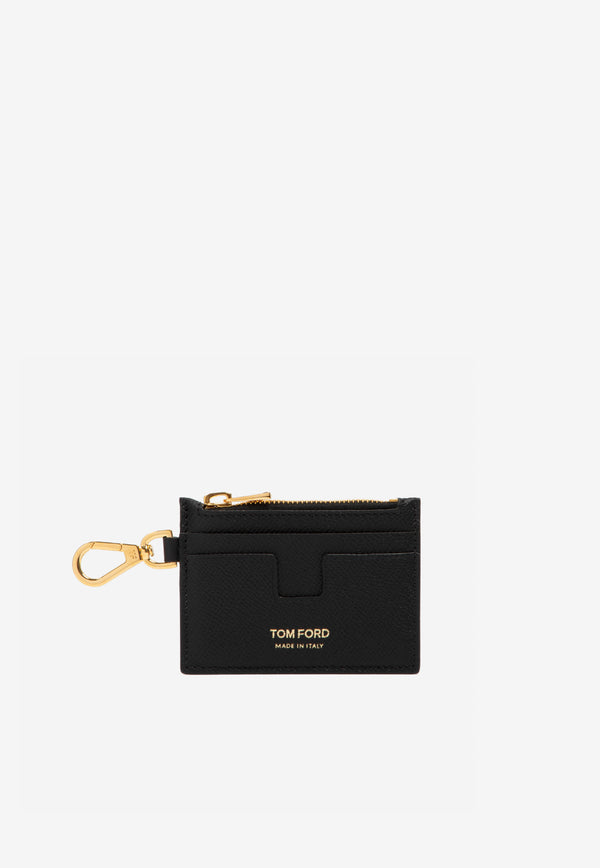 Zip Cardholder in Grained Calfskin with Neck Strap