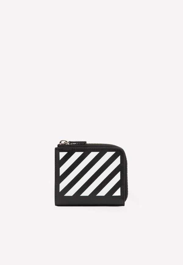 Diag Wallet in Striped Leather
