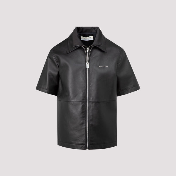 Double Collar Logo Shirt in Leather