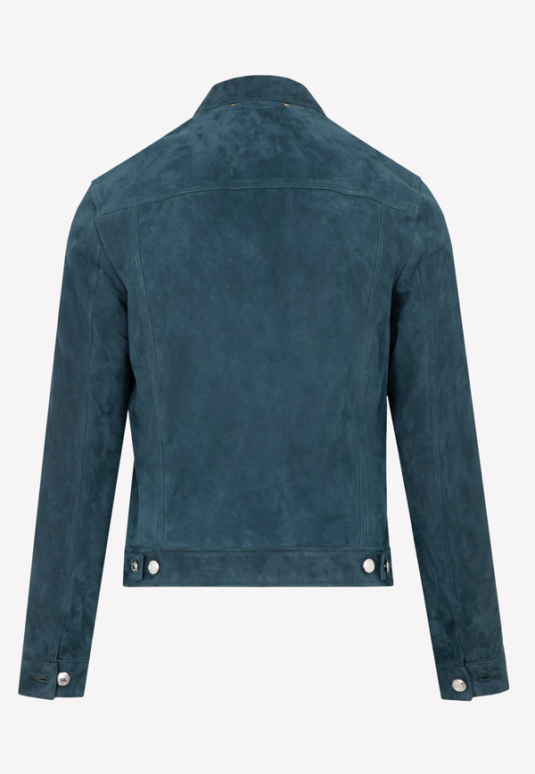 Paul Smith Suede Denim Jacket -  Blue