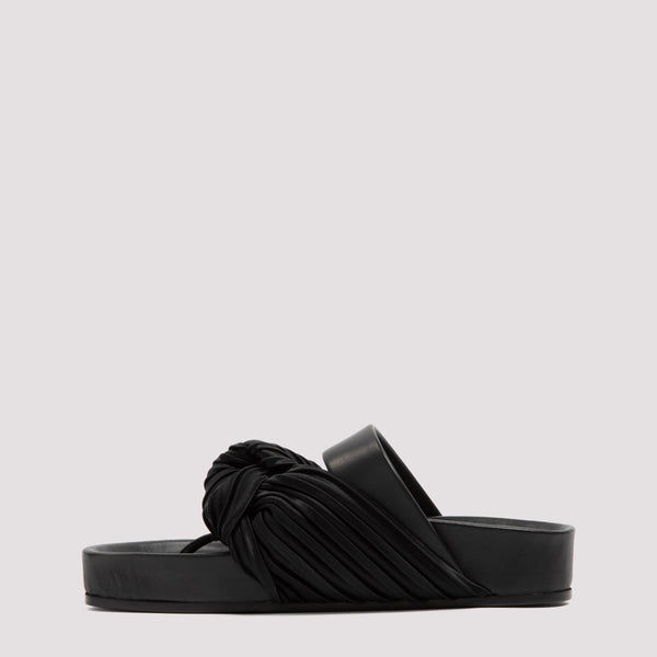 Knotted Strap Leather and Satin Sandals