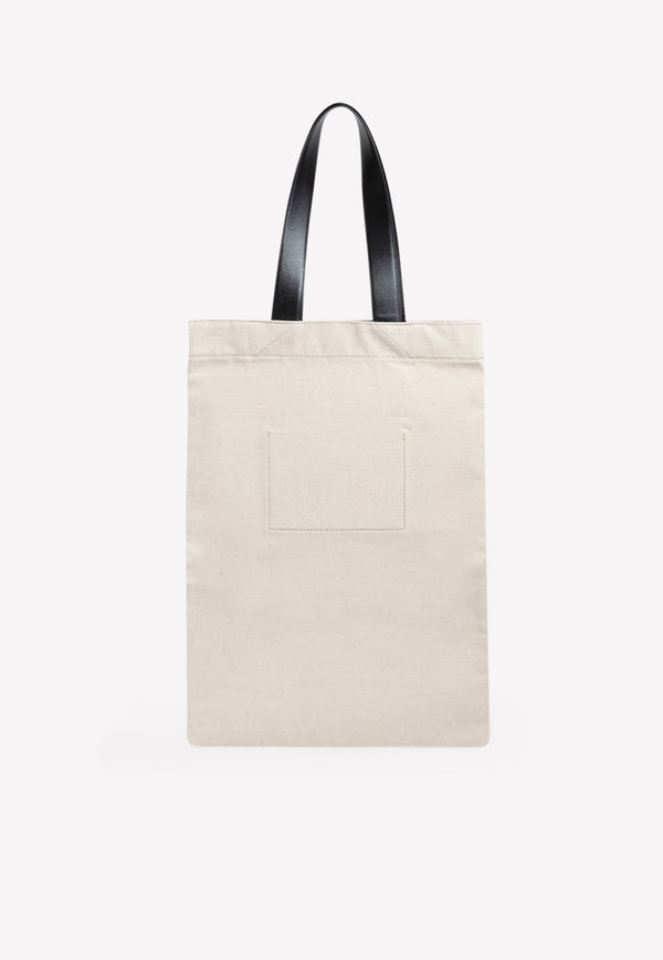 Large Canvas Shopper with Leather Straps