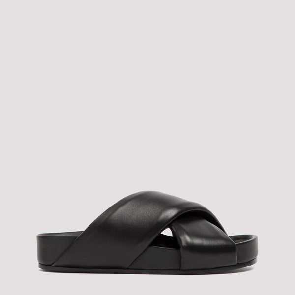 Leather Sandals with Crossover Straps