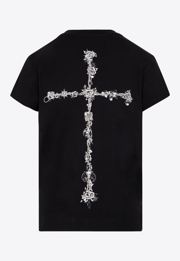 Givenchy Cotton T-shirt with Metallic Embroidery Black BW707Y3Z54-001 BLACK
