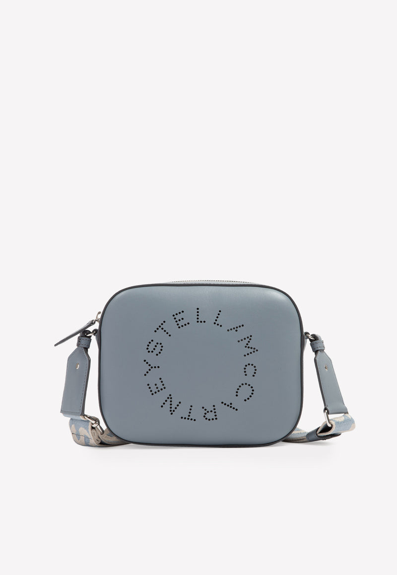 Mini Perforated logo Crossbody Bag in Faux Leather
