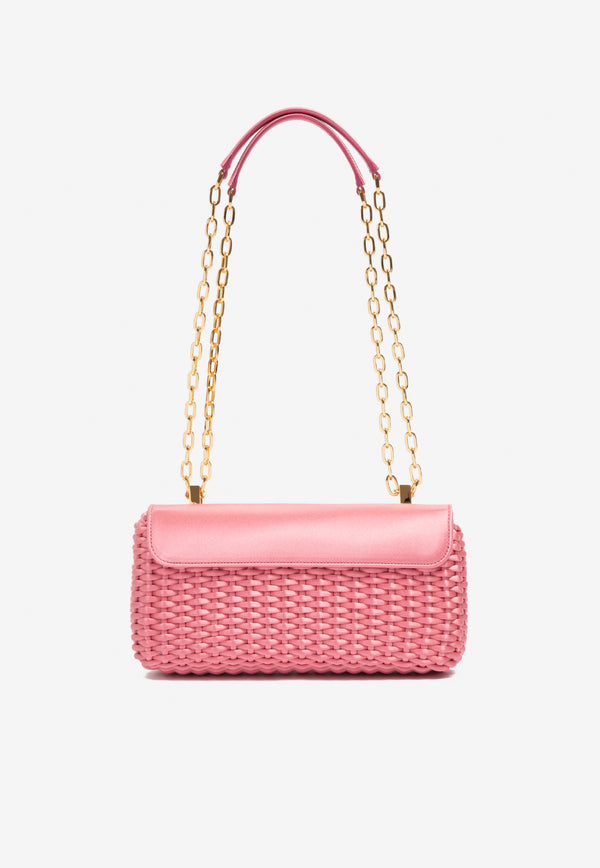 Medium Woven Satin Chain Shoulder Bag