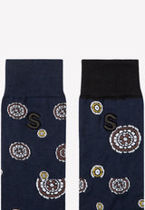 Komon Pattern Intarsia Socks in Cotton Blend