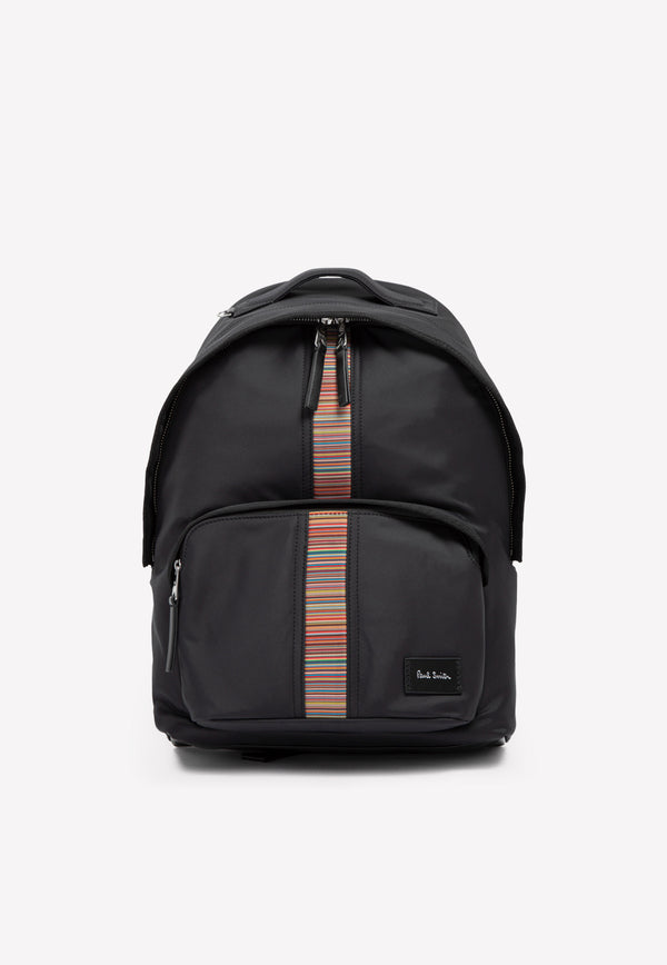 Paul Smith Nylon Stripe Backpack -  Black