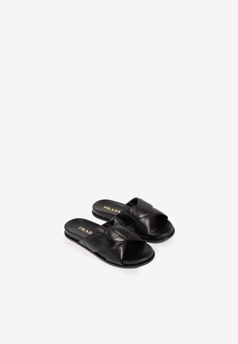 Crisscross Flat Slides in Quilted Nappa Leather